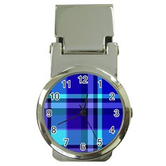 Blue Plaid Money Clip With Watch