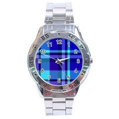 Blue Plaid Stainless Steel Watch (men s)