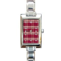 Red White Plaid Rectangular Italian Charm Watch