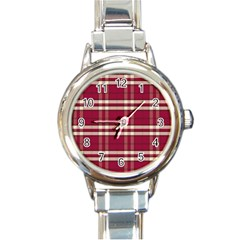 Red White Plaid Round Italian Charm Watch