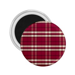 Red White Plaid 2.25  Button Magnet