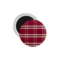 Red White Plaid 1.75  Button Magnet