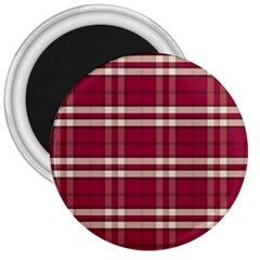 Red White Plaid 3  Button Magnet