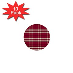 Red White Plaid 1  Mini Button (10 pack)