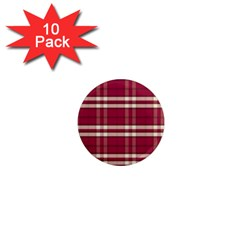 Red White Plaid 1  Mini Button Magnet (10 Pack)