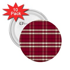 Red White Plaid 2.25  Button (10 pack)