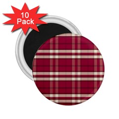 Red White Plaid 2.25  Button Magnet (10 pack)