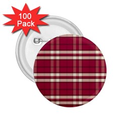 Red White Plaid 2.25  Button (100 pack)
