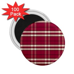 Red White Plaid 2 25  Button Magnet (100 Pack)