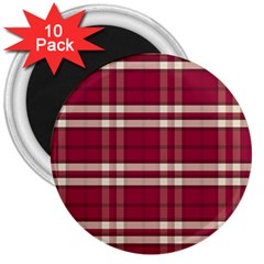 Red White Plaid 3  Button Magnet (10 pack)