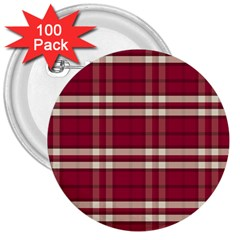 Red White Plaid 3  Button (100 pack)