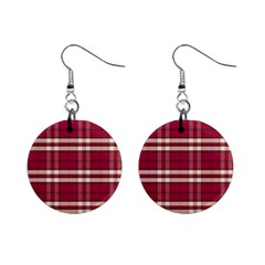 Red White Plaid Mini Button Earrings