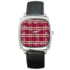 Red White Plaid Square Leather Watch