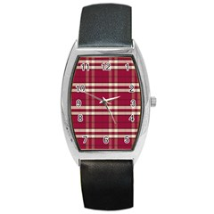 Red White Plaid Tonneau Leather Watch