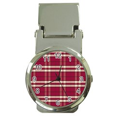 Red White Plaid Money Clip with Watch
