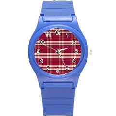 Red White Plaid Round Plastic Sport Watch Small