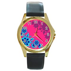 4 Round Metal Watch (Gold Rim)