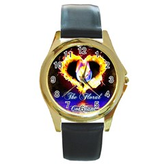 Thefloralcovenant Round Metal Watch (gold Rim)