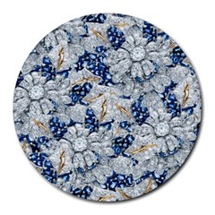 Flower Sapphire And White Diamond Bling 8  Mouse Pad (round)