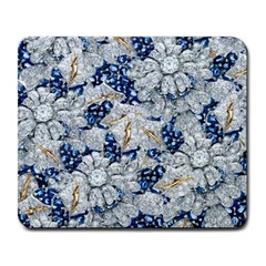 Flower Sapphire and White Diamond Bling Large Mouse Pad (Rectangle)
