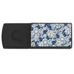 Flower Sapphire And White Diamond Bling 4gb Usb Flash Drive (rectangle)