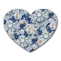 Flower Sapphire and White Diamond Bling Mouse Pad (Heart)