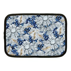 Flower Sapphire And White Diamond Bling Netbook Case (medium)