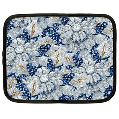 Flower Sapphire and White Diamond Bling Netbook Case (Large)