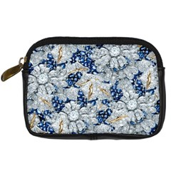 Flower Sapphire and White Diamond Bling Digital Camera Leather Case