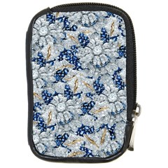 Flower Sapphire and White Diamond Bling Compact Camera Leather Case