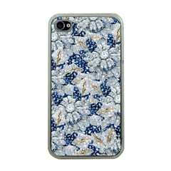 Flower Sapphire and White Diamond Bling Apple iPhone 4 Case (Clear)