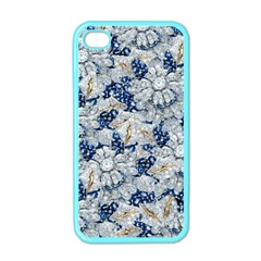 Flower Sapphire and White Diamond Bling Apple iPhone 4 Case (Color)