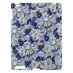 Flower Sapphire and White Diamond Bling Apple iPad 3/4 Hardshell Case