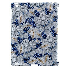 Flower Sapphire and White Diamond Bling Apple iPad 3/4 Hardshell Case (Compatible with Smart Cover)