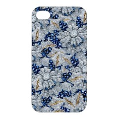 Flower Sapphire and White Diamond Bling Apple iPhone 4/4S Premium Hardshell Case