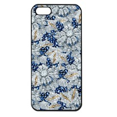 Flower Sapphire and White Diamond Bling Apple iPhone 5 Seamless Case (Black)