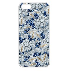 Flower Sapphire And White Diamond Bling Apple Iphone 5 Seamless Case (white)