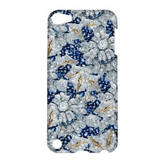 Flower Sapphire and White Diamond Bling Apple iPod Touch 5 Hardshell Case