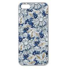 Flower Sapphire and White Diamond Bling Apple Seamless iPhone 5 Case (Clear)