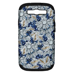 Flower Sapphire And White Diamond Bling Samsung Galaxy S Iii Hardshell Case (pc+silicone)