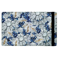 Flower Sapphire And White Diamond Bling Apple Ipad 3/4 Flip Case