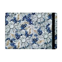 Flower Sapphire and White Diamond Bling Apple iPad Mini Flip Case