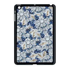 Flower Sapphire And White Diamond Bling Apple Ipad Mini Case (black)