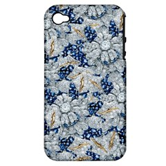 Flower Sapphire and White Diamond Bling Apple iPhone 4/4S Hardshell Case (PC+Silicone)