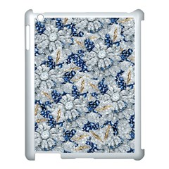 Flower Sapphire and White Diamond Bling Apple iPad 3/4 Case (White)