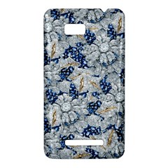 Flower Sapphire and White Diamond Bling HTC One SU T528W Hardshell Case
