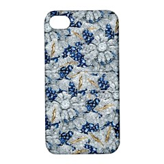 Flower Sapphire And White Diamond Bling Apple Iphone 4/4s Hardshell Case With Stand
