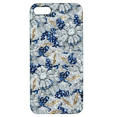 Flower Sapphire And White Diamond Bling Apple Iphone 5 Hardshell Case With Stand
