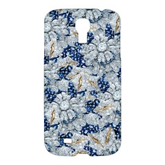 Flower Sapphire and White Diamond Bling Samsung Galaxy S4 I9500 Hardshell Case