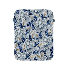 Flower Sapphire and White Diamond Bling Apple iPad 2/3/4 Protective Soft Case